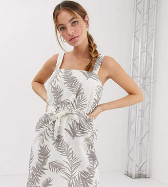 Asos DESIGN Petite mini square neck sundress with ruched drawstring waist in tropical print-Multi