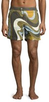 Tom Ford Swirl-Print Swim Trunks, Army/Blue