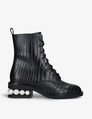 Nicholas Kirkwood Casati pearl-embellished leather ankle boots