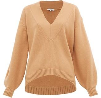 Tibi V-neck Wool-blend Sweater - Womens - Camel