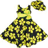 Sunny Fashion ET42 2 Pecs Girls Dress Sun Hat Bow Tie Summer Beach
