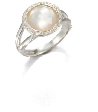 Ippolita Lollipop Small Sterling Silver, Mother-Of-Pearl & Diamond Ring