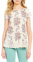Jolt Floral Printed Crochet Trim Knit Top