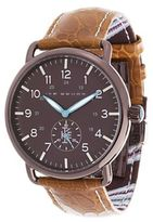 Ike Behar Stainless Steel & Leather Strap Analog Watch