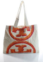 Tory Burch White Canvas Logo Beach Totes Size Large
