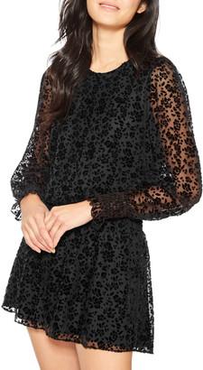 Parker Carmindy Velvet Devore Long-Sleeve Short Dress