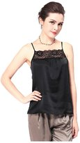 Forever Angel-Women's Tops Forever Angel Women's 100% Silk Charmeuse Lace Camisole Top Size S