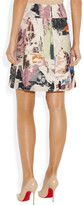 Carven Collage-print wool-blend A-line skirt