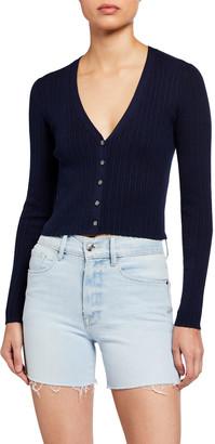Frame Mixed-Rib Cardigan Sweater