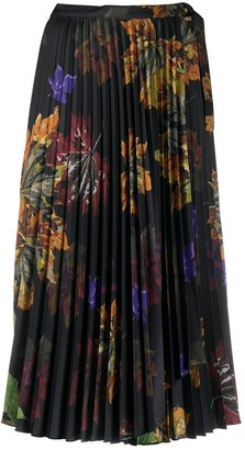 Off-White Floral Print Pleated Midi Skirt