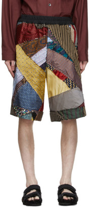 By Walid Multicolor Silk Tie Story Lesley Shorts