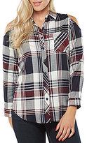 Peter Nygard Petite Plaid Cold Shoulder Shirt