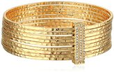 Jessica Simpson Hammered Stacked Gold Bangle Bracelet
