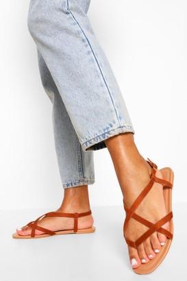 boohoo Toe Post Strappy Basic Sandal