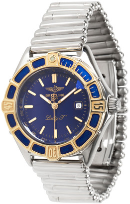 Breitling Blue 18k Yellow Gold and Stainless Steel J Class D52065 Women's Wristwatch 30MM