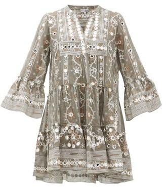Juliet Dunn Embroidered And Mirror Applique Cotton Dress - Womens - Khaki Print