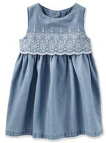 Osh Kosh Size 24M 2-Piece Sleeveless Chambray Dress and Diaper Cover Set