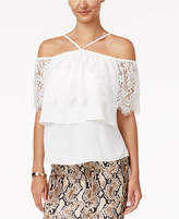 Thalia Sodi Lace Cold-Shoulder Halter Top, Created for Macy's