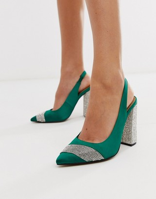 Asos Design DESIGN Presence embellished block heeled high shoes in green satin
