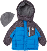 London Fog Blue Geometric Puffer Coat & Beanie - Infant & Boys