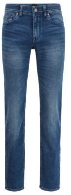 HUGO BOSS Slim-fit jeans in dark-blue knitted stretch denim