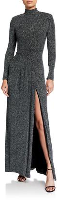 Jonathan Simkhai Glitter Jersey Long-Sleeve Draped-Front Gown