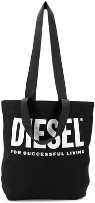 Diesel logo print canvas shopper tote