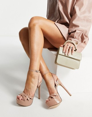 Steve Madden Solace platform strappy sandals in blush patent