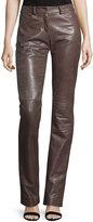 Halston Slim Boot-Cut Leather Pants, Dark Taupe