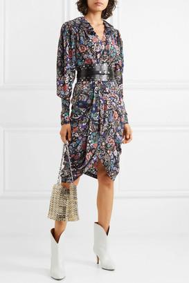 Isabel Marant Blandine Draped Printed Silk-blend Dress - Black