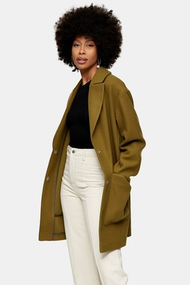 Topshop Womens Olive Green Coat - Olive
