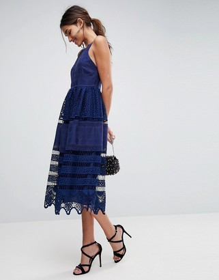 Asos Design PREMIUM Broderie Lace Midi Dress-Navy