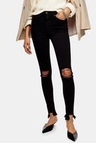 Topshop Womens Considered Black Wash Rip And Rip Hem Jamie Skinny Jeans - Black