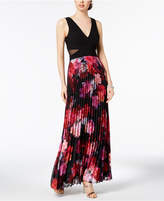 Xscape Evenings Pleated Floral-Print Gown, Regular & Petite Sizes