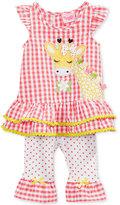 Nannette 2-Pc. Gingham Giraffe Tunic & Capri Leggings Set, Baby Girls (0-24 months)