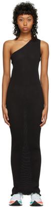 PRISCAVera SSENSE Exclusive Black One-Shoulder Pleated Dress