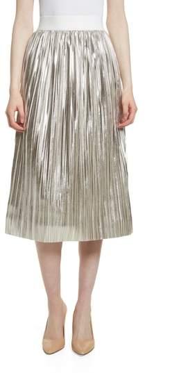 Alice + Olivia Mikaela Pleat Metallic Skirt