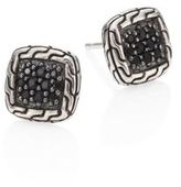 John Hardy Classic Chain Sterling Silver & Black Sapphire Lava Stud Earrings
