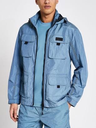 River Island 4 Pocket Hooded Jacket - Blue