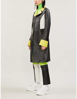KIRIN PEGGY GOU Colour-block leather coat