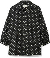 The Great The Easy Button Up Polka-dot Cotton-poplin Shirt - Black