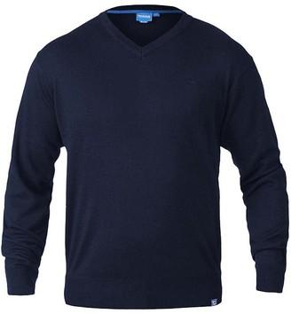 Duke D555 Mens Kingsize Big Tall Plain Thin V-Neck Knitted Jumper Sweater-Navy-2XL