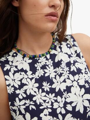 MANGO Flowy Floral Midi Dress, Navy/White