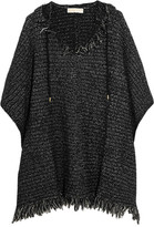 MICHAEL Michael Kors Fringed Knitted Hooded Poncho - Black