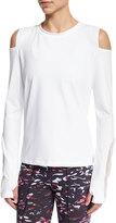Varley Rennie Cold-Shoulder Sport Sweater, White