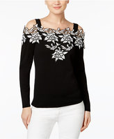 INC International Concepts Appliqué Cold-Shoulder Sweater, Only at Macy's