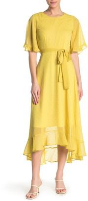 MelloDay Tie Front Chiffon Midi Dress