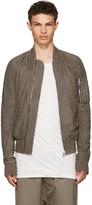 Rick Owens Grey Leather Raglan Bomber Jacket