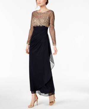 Xscape Evenings Embellished Petite Ruched Gown