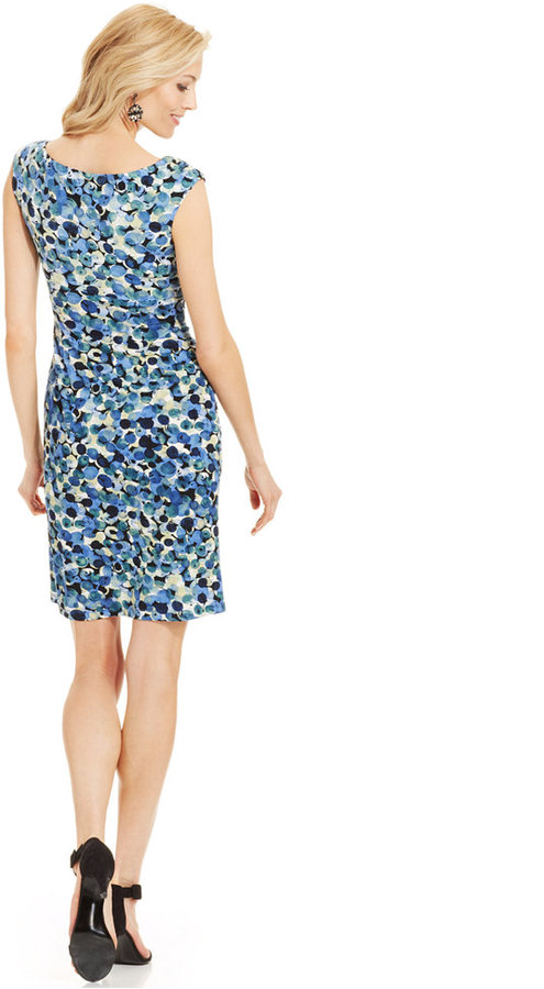 Connected Cap-Sleeve Printed Faux-Wrap Dress